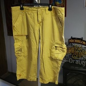 Mustard yellow cargo capri shorts